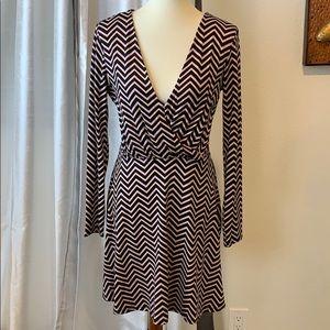 Love, Fire Chevron Pattern Long Sleeve Mini Dress